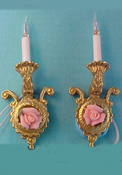 "1"" Scale Pair of Porcelain Rose Wall Sconces"