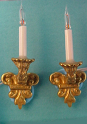 "1"" Scale Pair of  Brass Filagree Wall Sconces"