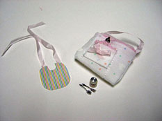"By Barb 1"" Scale Hand Crafted Baby Bib Set"