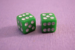 "1"" Scale Miniature Green Dice"