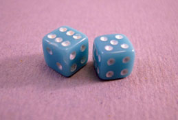 "1"" Scale Miniature Blue Dice"