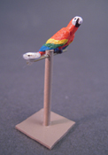 "Barbara Ann Meyer 1/2"" Scale Hand Crafted Parrot On A Perch"