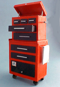 "1"" Scale Miniature Hand Crafted Small Filled Tall Tool Chest"