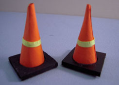 "1"" Scale Miniature Hand Crafted Set Of Two Safety Cones"
