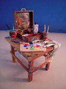 "1"" Scale Miniature Hand Crafted Filled Artist's Table"