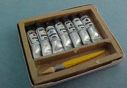 "1"" Scale Hand Crafted Miniature Displays Box Of Artist's Paints"