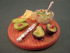 "1"" Scale Hand Crafted Avocado Dip on a Party Serving Board"