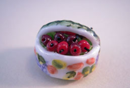 "1"" Scale Hand Crafted Porcelain Basket Of Cherries"