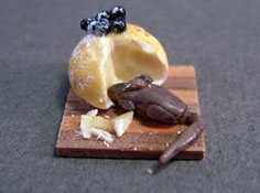 """1/2"""" Scale Hand Crafted Mouse on a Cheese Board"""