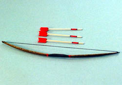 "1"" Scale Hand Crafted Long Bow and Arrows"