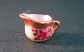 "Ni Glo 1/2"" Scale Rose Milk Pitcher"
