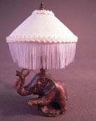 "1"" Scale Gorgeous Ni Glo Elephant Table Lamp With Fringe Shade"