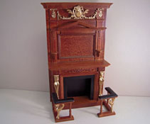 "1"" Scale Platinum Collection Walnut Hand Painted ""Figurehead"" Fireplace and Fenders"