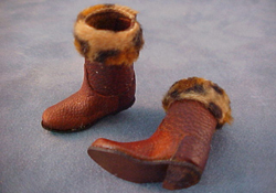 "Prestige Leather 1"" Scale Hand Crafted Fur Top Boots"