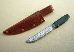 Prestige Leather 1&quot; Scale Hunting Knife With Leather Sheath