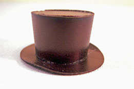 "Prestige Leather 1"" Scale Hand Crafted Black Top Hat"