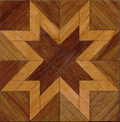 "Brodnax 1/2"" Scale Etoile Walnut Parquet Center Medallion Flooring Kit"