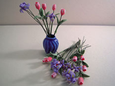 "Bright deLights 1"" Scale Pink Tulips and Purple Iris in a Vase"