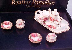 "Reutter 1/2"" Scale Roseband Tea Set"
