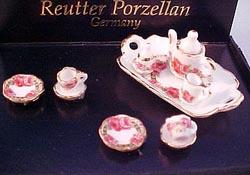 "Reutter 1/2"" Scale Roseband Tea Set"