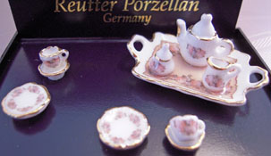 Reutter Porcelain Miniature Antique Rose Tea Set 1:24
