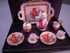 "1"" Scale Reutter Porcelain Rooster Coffee Set"