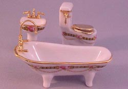 "Reutter 1/2"" Scale Miniature Gilded Rose Porcelain Bathroom Set"