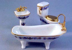 "Reutter 1/2"" Scale Miniature Gilded Blue Porcelain Bathroom Set"