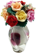 "Bright deLights 1"" Scale Roses In A Burgundy Art Deco Vase"