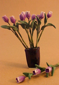 "Bright deLights 1"" Scale Purple Tulips In A Blue Vase"