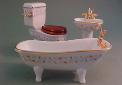 "Reutter 1"" Scale Gold Cross Three Piece Porcelain Bath Set"