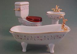 """Reutter 1"""" Scale Gold Cross Three Piece Porcelain Bath Set"""