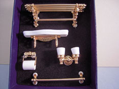 "Reutter Porcelain 1"" Scale Miniature Brass Bathroom Accessory Set"
