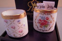 """Reutter 1"""" Scale Porcelain Decorative Waste Basket Set"""