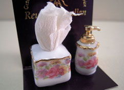 "Reutter Porcelain 1"" Scale Soap Dispenser and Tissue Set"