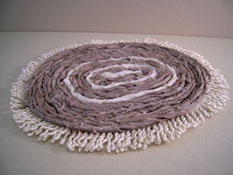 "1"" Scale Miniature Hand Crafted Tan & Cream Rag Rug"