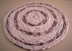 "1"" Scale Miniature Hand Crafted White and Mauve Rag Rug"