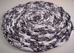 "1"" Scale Miniature Hand Crafted White and Black Rag Rug"