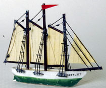 "1"" Scale Model Schooner For Your Dollhouse"