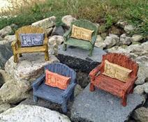 Fairy Garden Miniature Green Resin Rainbow Bench With Believe Pillow