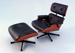 "1"" Scale Replica Of Charles and Ray Eames 1956 Chair and Ottoman"