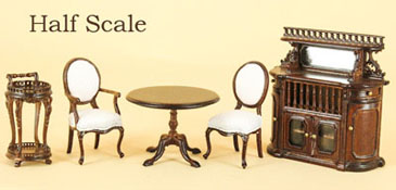 "Bespaq 1/2"" Scale Five Piece Walnut ""Miss Lydia's Tea Room"" Set"