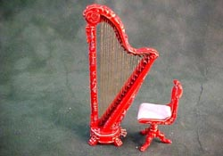 "Bespaq 1/2"" Scale Red Hand Painted Chinoiseries Harp and Stool"