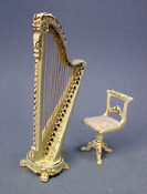 "Bespaq 1/2"" Scale Hand Painted Dauphine Harp and Stool"