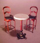 "Bespaq 1/2"" Scale Mahogany Bistro Tall Table Set"