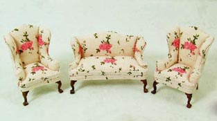 "1/2"" Scale Rose Three Piece Sofa Set"