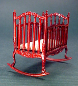 "Bespaq 1/2"" Scale Miniature ""Sweet Home"" Mahogany Cradle"