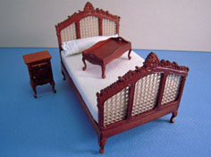 "1/2"" Scale Bespaq Three Piece Walnut Eloise Caned Bed Set"
