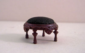 """Bespaq 1/2"""" Scale Mahogany Vintage Fancy Victorian Carved Ottoman"""