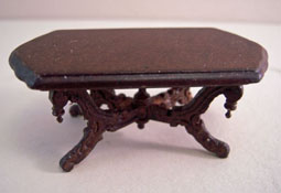 """Bespaq 1/2"""" Scale Mahogany Vintage Fancy Victorian Carved Coffee Table"""
